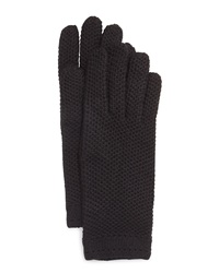 Neiman Marcus Honeycomb Knit Gloves Black