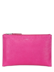 Rochas Leti Leather Clutch Fuchsia