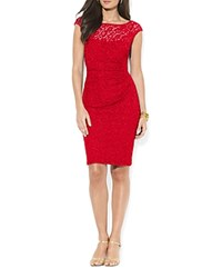 Lauren Ralph Lauren Petites Boat Neck Lace Dress