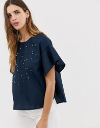 Qed London Embellished Blouse With Frill Sleeve Navy