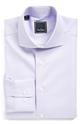 Men's Big And Tall David Donahue Regular Fit Houndstooth Dress Shirt Lilac
