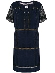 Michel Klein Net Panelled Mini Dress Blue