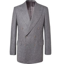 Maximilian Mogg Grey Double Breasted Wool Flannel Suit Dark Gray
