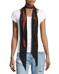 Rockins Snakes Classic Skinny Fringe Silk Scarf Ivory Red