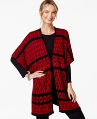 Ny Collection Oversize Geo Print Poncho Cardigan