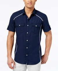 Inc International Concepts Men's Empire Ripstop Short Sleeve Shirt Only At Macy's Navy