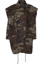Maison Martin Margiela Mm6 Hooded Camouflage Print Cotton Canvas Jacket Army Green