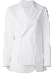 Julien David Asymmetric Blazer Jacket White