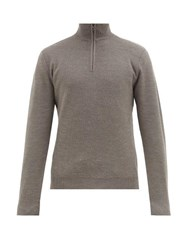 Ralph Lauren Purple Label Half Zip Wool And Cashmere Blend Sweater Grey