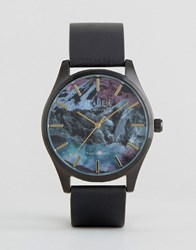 Reclaimed Vintage Mountain Print Leather Watch In Black Black