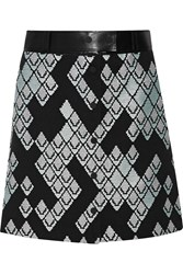 3.1 Phillip Lim Leather Trimmed Ribbed Woven Skirt Black