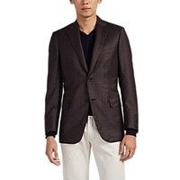 Brioni Ravello Plaid Wool Two Button Sportcoat Brown Pat.