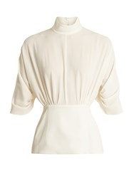 Emilia Wickstead Gee Gee High Neck Crepe Blouse White