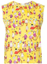 Chanel Vintage Patterned Sleeveless Blouse Yellow
