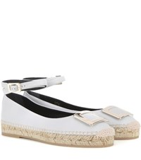 Roger Vivier Embellished Leather Espadrilles Grey