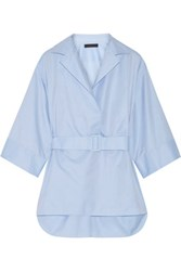 The Row Hona Belted Cotton Twill Tunic Sky Blue