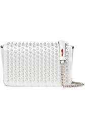 Christian Louboutin Zoompouch Spiked Iridescent Leather Shoulder Bag White