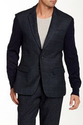 People Trend Cable Knit Sleeve Blazer Blue