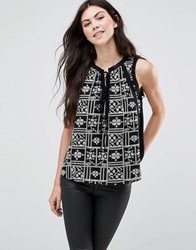 Greylin Lynna Tie Front Printed Blouse Black