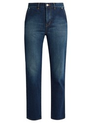 Muveil Bow Pockets Straight Leg Cropped Jeans Blue