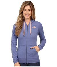 The North Face Lite Weight Full Zip Hoodie Coastal Fjord Blue Heather Feather Orange Women's Sweatshirt