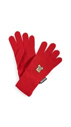 Moschino Red Bear Patch Gloves