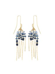 Natasha Collis 'Rod' Blue Sapphire Earrings Metallic