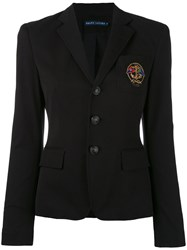 Ralph Lauren Embroidered Emblem Blazer Women Cotton Spandex Elastane Acetate 4 Black