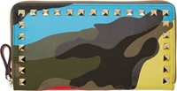 Valentino Green Psychedelic Camouflage Continental Wallet