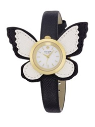 Kate Spade Novelty Metro Butterfly Wing Enamel Goldtone Stainless Steel And Saffiano Leather Strap Watch Gold Black