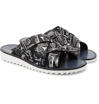Dolce And Gabbana Woven Printed Full Grain Leather Slides Black