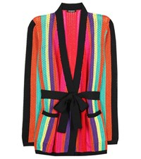 Balmain Striped Knitted Cardigan Multicoloured