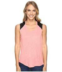 Calvin Klein Jeans Lace Pieced Sleeveless Shell Pink Women's Sleeveless