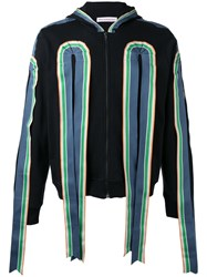 Walter Van Beirendonck Ribbon Applique Zipped Hoodie Black