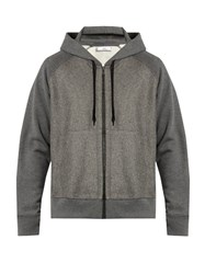 Ami Alexandre Mattiussi Zip Through Wool Panel Hooded Cotton Sweater Grey