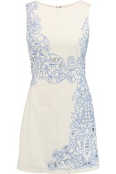 Alice Olivia Malin Cutout Embroidered Cotton Mini Dress Cream