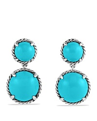 David Yurman Chatelaine Double Drop Earrings With Turquoise Silver Turquoise