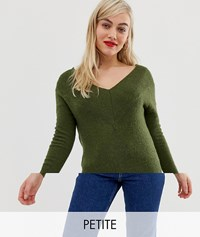 Noisy May Petite Off The Shoulder Knit Olive Night Green