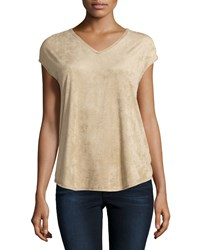 Max Studio Short Sleeve Perforated V Neck Tee Beige