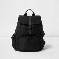 River Island Black Flap Top Backpack