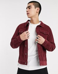 Another Influence Cord Trucker Jacket In Burgundy Red