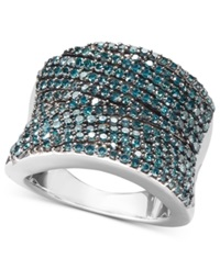 Macy's Pave Blue Diamond Ring In Sterling Silver 1 Ct. T.W.