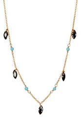 Argentovivo 18K Gold Plated Sterling Silver Thin Bead Petal Drop Necklace Multi