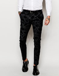 Noose And Monkey Tuxedo Suit Trousers With Stretch And Floral Flocking In Skinny Fit Charcoal
