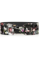 Mcq By Alexander Mcqueen Floral Print Patent Leather Belt Black