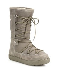 Moncler Laetitia Tall Suede And Shearling Lace Up Boots Grey