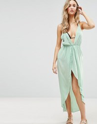 Asos Cami Beach Dress With Dipped Hem And Wrap Front Green
