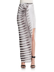 Helmut Lang Striped Asymmetrical Maxi Skirt