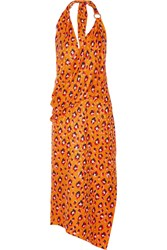 Haney Leopard Print Silk Halterneck Dress Bright Orange
