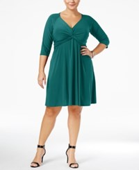 Love Squared Trendy Plus Size Knotted Fit And Flare Dress Bright Blue